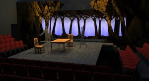 "A rendering of the design for ""The Crucible"" created in SketchUp and rendered in SUPodium"