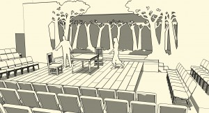 "An image of my design for a production of ""The Crucible"" created in SketchUp"